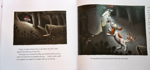 "My children's favorite moment in the book, when Otis finds the puppy (by his tail poking out of a hollow log), and the latter ""squealed and cried and covered Otis's face with kisses."""