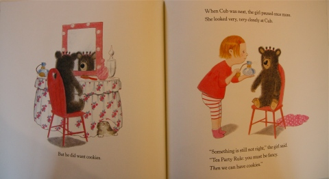 """Tea Party Rule: you must be fancy."" And so the girl spritzes the Cub with perfume (his sideways turned-up nose absolutely slays me)."