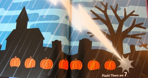 """The eighth pumpkin vanishes into thin air when it is struck by a lightning bolt: """"Flash! There are 7."""""""